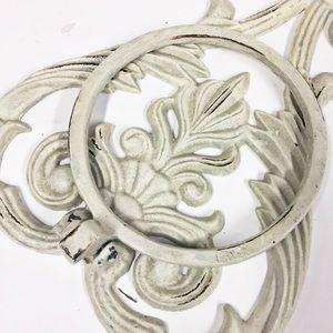 Ornate Towel Holder Shabby Paint Cast Metal